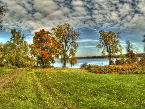 Vermont, ežeras & nbsp, champlain, ežeras, kraštovaizdis, vanduo, tapybos, Krantas, ežeras & nbsp, krantas, medžiai, debesys, gamta, sezoninis, ežero kraštovaizdis