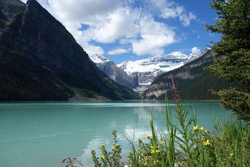 ežero louise,Kanada,banff,ežeras,kalnai,gamta,dangus,mėlynas,Alberta,kraštovaizdis,Nacionalinis parkas,uolėti kalnai,poilsis,vanduo,Banfo nacionalinis parkas,bankas,panorama