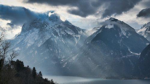lake lucerne region  mountains  switzerland