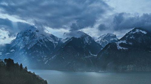 lake lucerne region  clouds  switzerland