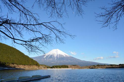 lake tanuki mt fuji snowcap
