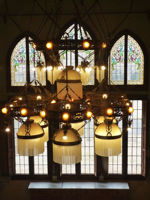 lamp stained glass window modernism