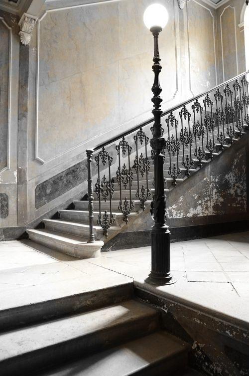 lamppost stairs door