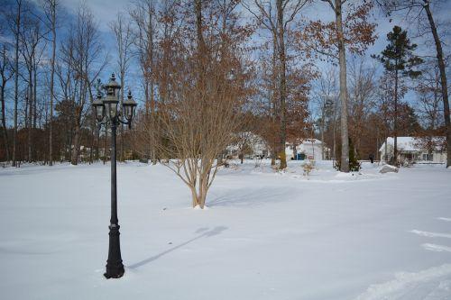 lamppost snow winter
