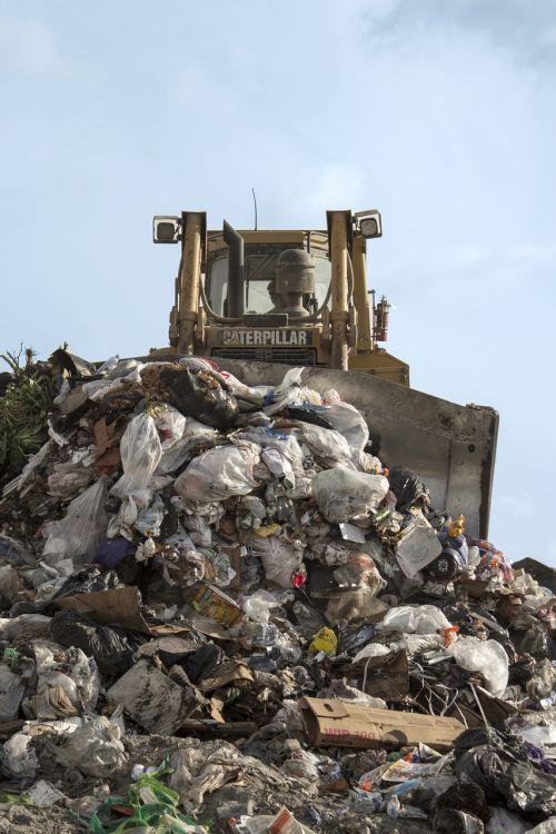 landfill bulldozer garbage