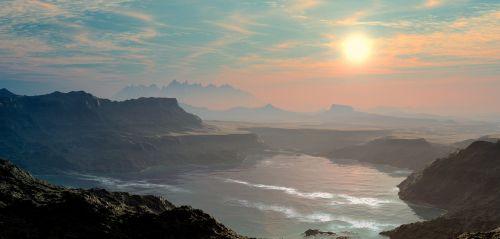 kraštovaizdis,vanduo,saulė,kalnai,ežeras,tvenkinys,bankas,banga,reljefas,platus,vienatvė,atsisakymas,apleistas,palikti,nepažeista,atgal šviesa,kontrastas,šiltas,idiliškas,toli,kalnų,debesys,3d,menotyros voyager,migla,rūkas,Karg,schroff,be augmenijos,uolingas,pastelė,Pasteltonas,garintas