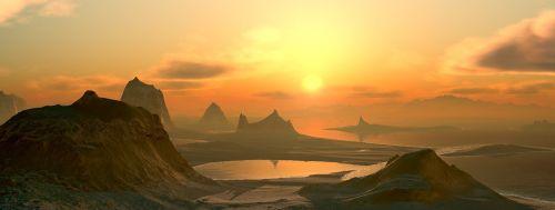 landscape mountains sun