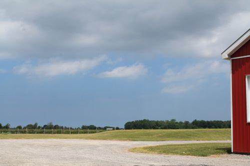 landscape barn blue sky