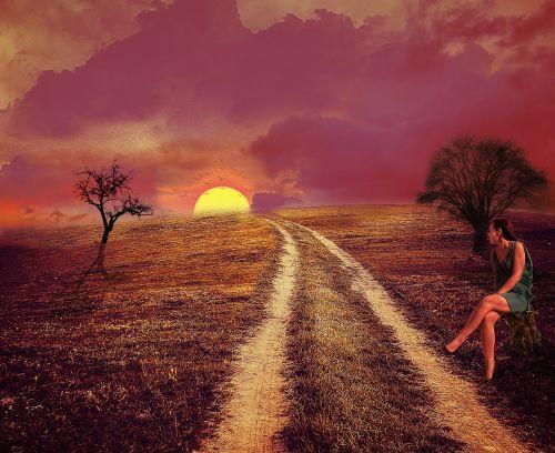 landscape expectation woman