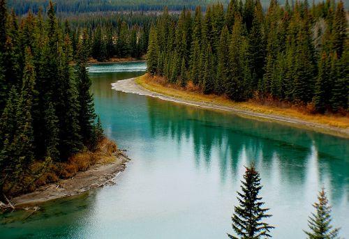 kraštovaizdis,lankas upė,Alberta,Kanada,Banfo nacionalinis parkas,atspindys,vanduo,miškas,medžiai,dykuma