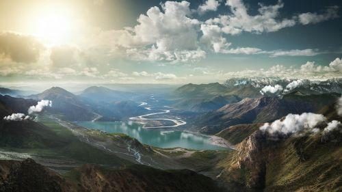 kraštovaizdis,kalnai,ežeras,abendstimmung,sirrealis,debesys