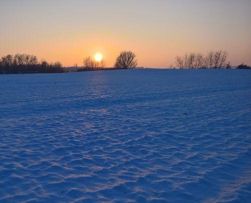 landscape winter sunset