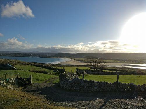 kraštovaizdis,Airija,saulė,saulėtas,papludimys