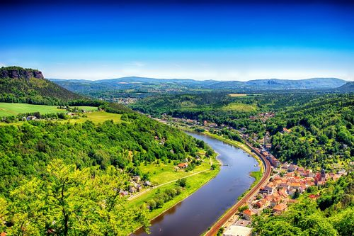 landscape elbe valley saxon switzerland