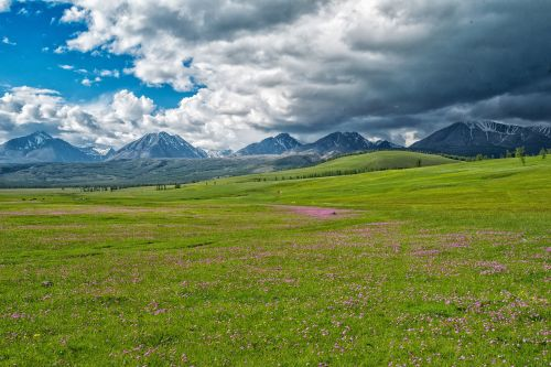 landscape the mongolian and russian border mountains fax the northwest part