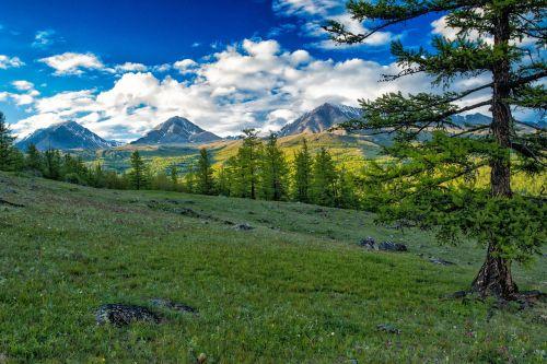 landscape mountain mongolia the russian border mountains