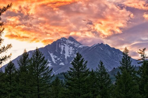 landscape mountain at dusk