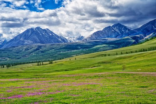 landscape mongolia the russian border mountains