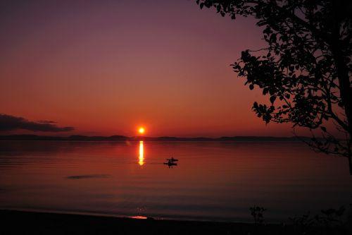 landscape kayak sunset