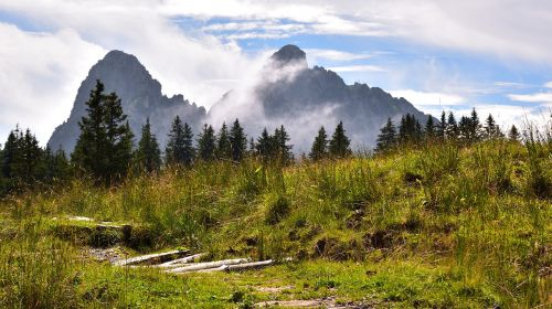 landscape mountains clouds