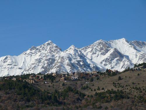 landscape winter mountain village