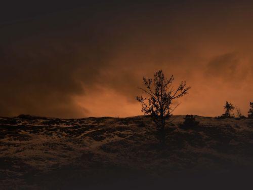 landscape sunset barren