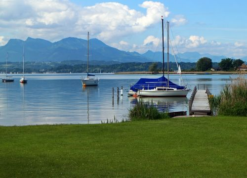 landscape chiemsee ships