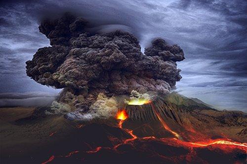 landscape  volcano  eruption