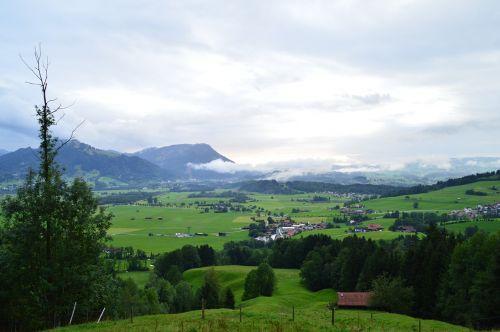 kraštovaizdis,Allgäu,debesys,Allgäu Alpės,kalnai,Alpių,gamta,panorama