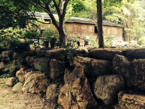 wood stone wall wooden house