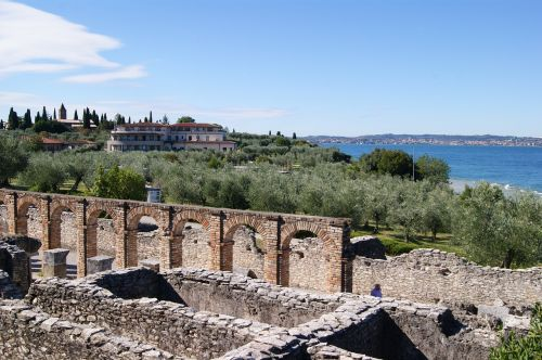 landscape olive grove the ruins of the