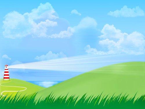 landscape with sea  light house  sky