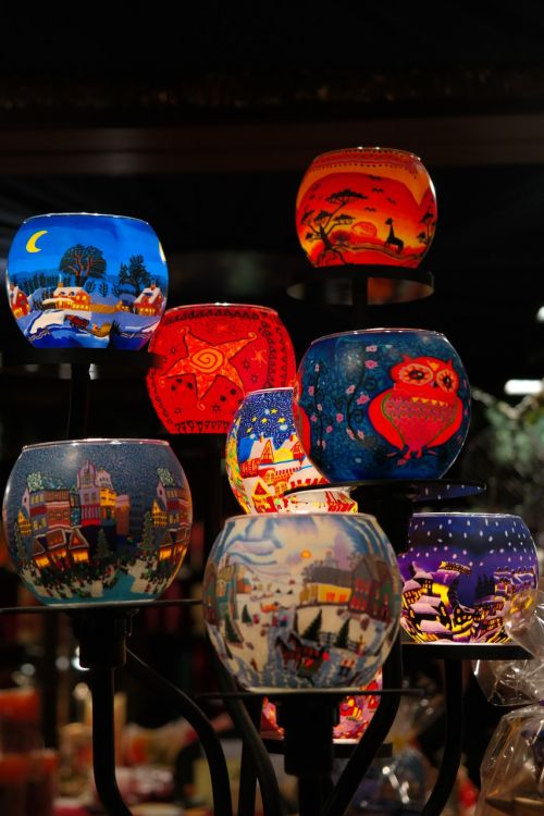 lanterns christmas market colorful