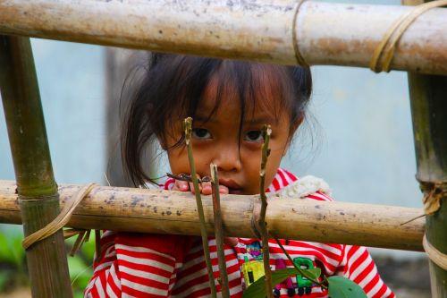 laos girl child staring