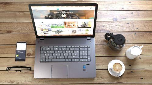 laptop coffee work