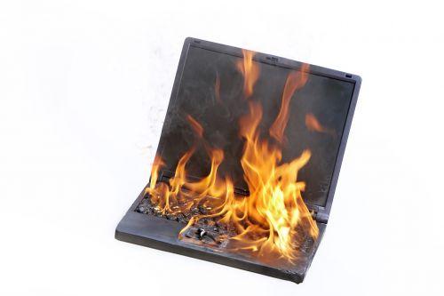 laptop burning fire