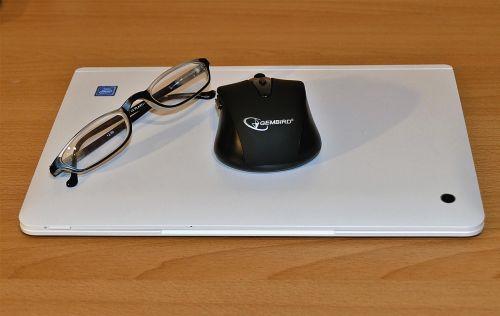 laptop glasses pc mouse