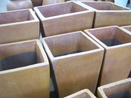 molis & nbsp, puodai, didelis, sodas & nbsp, centras, kvadratas, grupė, sodininkystė, konteineris, dideli molio puodai