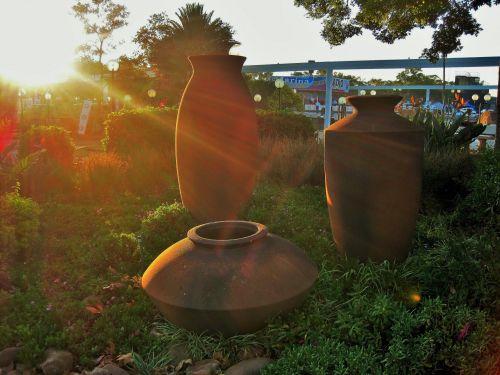 puodai, didelis, sodas, saulės šviesa, dideli sodo puodai efektui