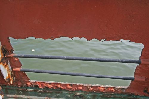 Large Hole Cut In Side Of Tug Hull