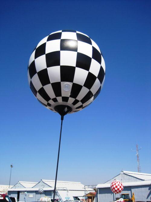 Large White Black Balloon