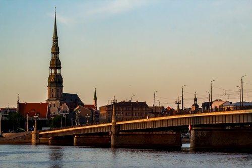 latvia  bridge  river