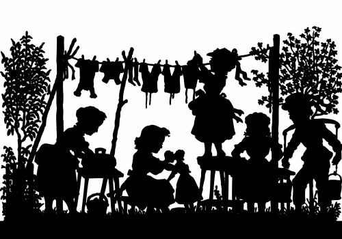 Laundry Day Silhouette Vintage