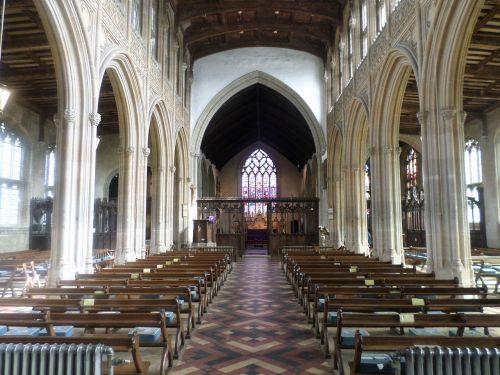 lavenham church pews aisle