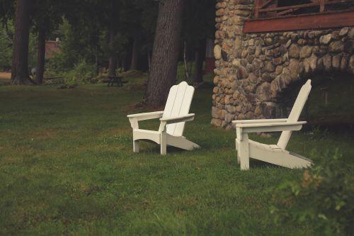 lawn chairs yard grass