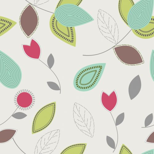 Leaves, Flowers Abstract Background