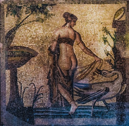 leda and swan  mosaic  ancient