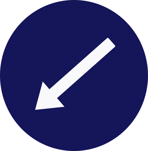 left down arrow