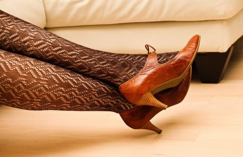 leggings lace high heels