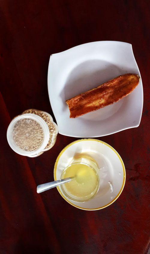 citrina, medus, bananas, šviežia & nbsp, citrina, skrudinta & nbsp, banana, arbata, citrina ir medaus arbata